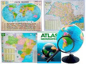 Kit Globo Terrestre Profissional Studio 30cm + Lupa +  Mapa do Brasil + Mapa Mundi + Mapa de SP + Livro Atlas