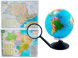 Kit Globo Terrestre Profissional Studio 30cm + Lupa +  Mapa do Brasil + Mapa de SP Edição Atualizada Escolar