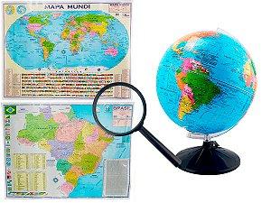 Kit Globo Terrestre Profissional Studio 30cm + Lupa +  Mapa do Brasil + Mapa Mundi Edição Atualizada Escolar Decorativo