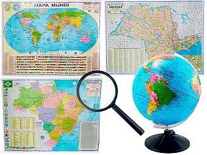 Kit Globo Terrestre Profissional Studio 30cm + Lupa +  Mapa do Brasil + Mapa Mundi + Mapa do Estado de São Paulo