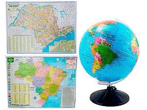 Kit Globo Terrestre Profissional Studio 30cm +  Mapa do Brasil + Mapa de São Paulo Edição Atualizada Escolar Decorativo