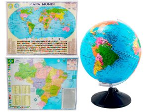 Kit Globo Terrestre Profissional Studio 30cm +  Mapa do Brasil + Mapa Mundi Edição Atualizada Escolar Decorativo