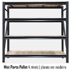 Mini Porta Pallets - 4 Planos Madeira