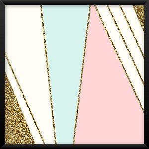 Quadro Triângulos em linhas Douradas