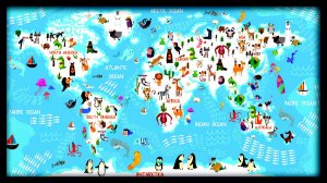 Quadro Mapa Mundi Animais