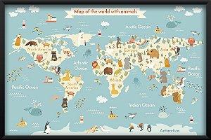 Quadro Animais e Continentes