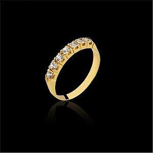 Anel Meia Aliança com 7 Diamantes 42 Pts