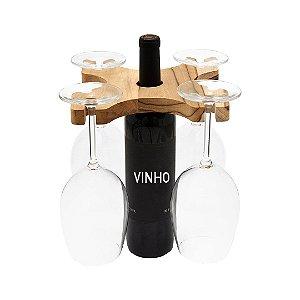 Suporte slim garrafa de vinho 4 taças