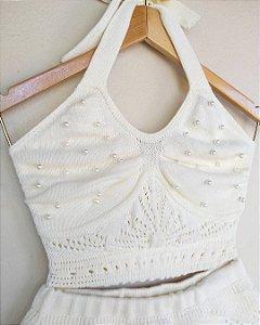 Cropped de tricot com pérola
