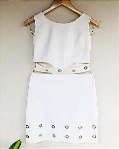 Vestido Off White com Argola - (Tamanho P)