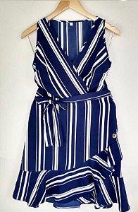 Vestido Listrado Azul e Branco (Tamanho P)