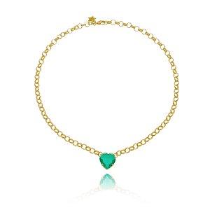 Colar Elo Coração Cristal Esmeralda
