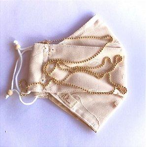 Máscara Nude Corrente Bolinhas Ouro