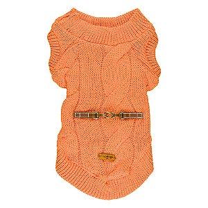 Casaquinho de tricô trançado laranja