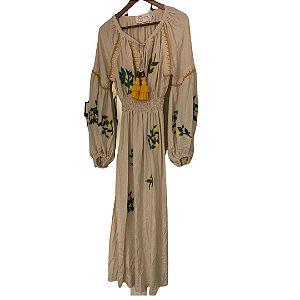 vestido viscose off bordado limão siciliano