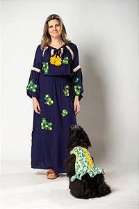 vestido viscose azul marinho bordado limão siciliano