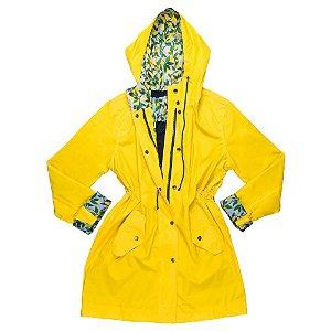 Capa de chuva Moms amarela com detalhes de limão siciliano