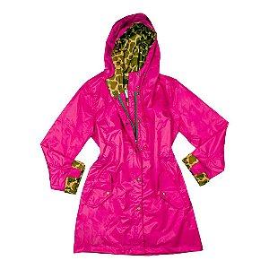 Capa de chuva Moms pink com detalhes em girafa marrom