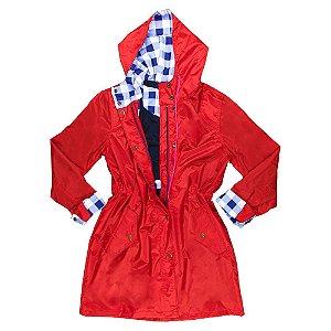 Capa de chuva Moms vermelha com xadrez navy