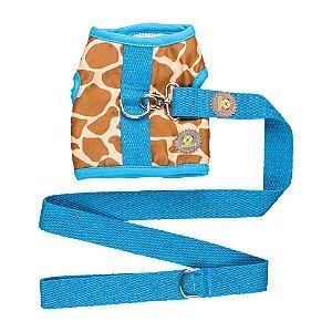 Peitoral estampa girafa marrom com detalhes turquesa + guia