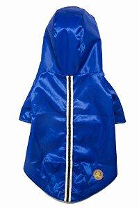 Capa de chuva pets azul royal com galão listrado