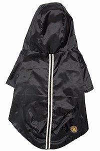 Capa de chuva pets preta com galão listrado