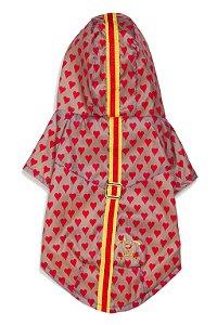Capa de chuva pets corações  com galão amarelo