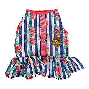 Peitoral  vestido estampa listras com flores