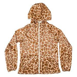 Jaqueta impermeável estampa girafa marrom