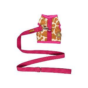Peitoral estampa girafa marrom com detalhes cereja + guia