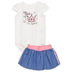Conjunto Body Little Princess com Saia azul