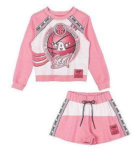 Conjunto Infantil Juvenil de Frio Blusão Rosa Listras Neon - Animê