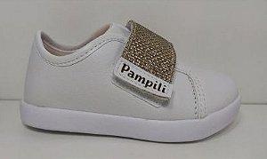 Tênis PomPom Branco e Dourado - Pampili