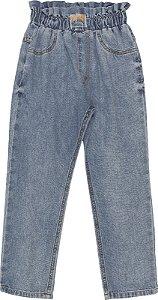 Calça Jeans com Babado na Cintura - Momi