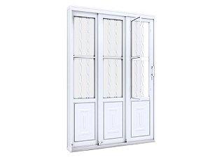 Porta De Correr Lateral 3 Folhas De Aço Com Postigo Grade Mosaico- Lucasa