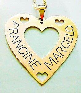 Corrente Com Pingente Mandala Vazada Coração Com Dois Nomes