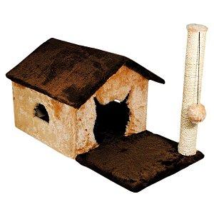 Arranhador Casinha Térrea para Gatos Fit House Pelúcia e Sisal