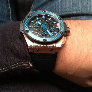 Relogio Hublot King Power Blue Rosê