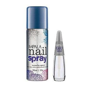 Impala KIt Nail Spray Esmalte em Spray 50ml Azul + Base 2 em 1 verniz