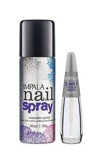 Impala KIt Nail Spray Esmalte em Spray 50ml Preto + Base 2 em 1 verniz