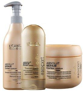 Loreal Absolut Repair Kit Shampoo 500ml + Cond. 150ml + máscara 500g