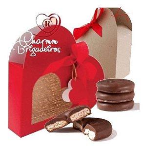 Caixa coração com amanteigados ao chocolate belga