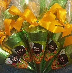 Cone Trufado (mini) c/ Chocolate Belga - PERSONALIZADO - 100 unidades