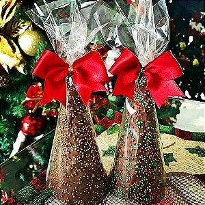 Mini cone pinheirinho com chocolate belga  (10 unidades)