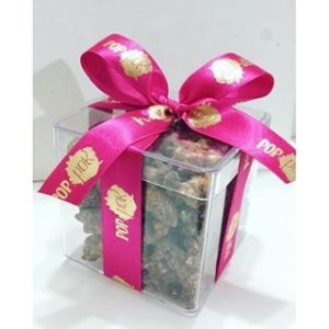 Caixinha de acrílico com Pipoca Caramelizada coberta com Chocolate Belga (12 unidades)