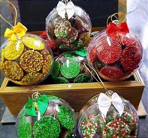 Bola Natalina com drágeas de chocolate belga (30 caixinhas)