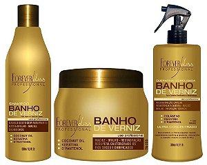 Kit Máscara Banho de Verniz 250gr + Shampoo + Spray Forever Liss
