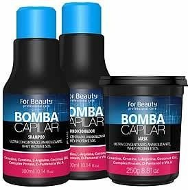 kit Bomba Capilar Com Máscara De 250g For Beauty