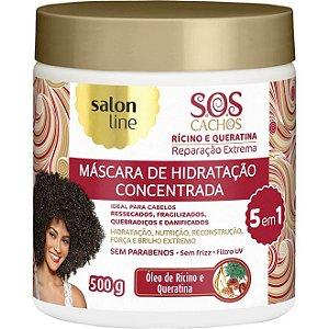 Máscara S.O.S Cachos Rícino e Queratina Salon Line 500g