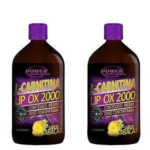 2 L-Carnitina LIP OX 2.000 da Power Supplements - 480ml - Sabor Abacaxí - Combo